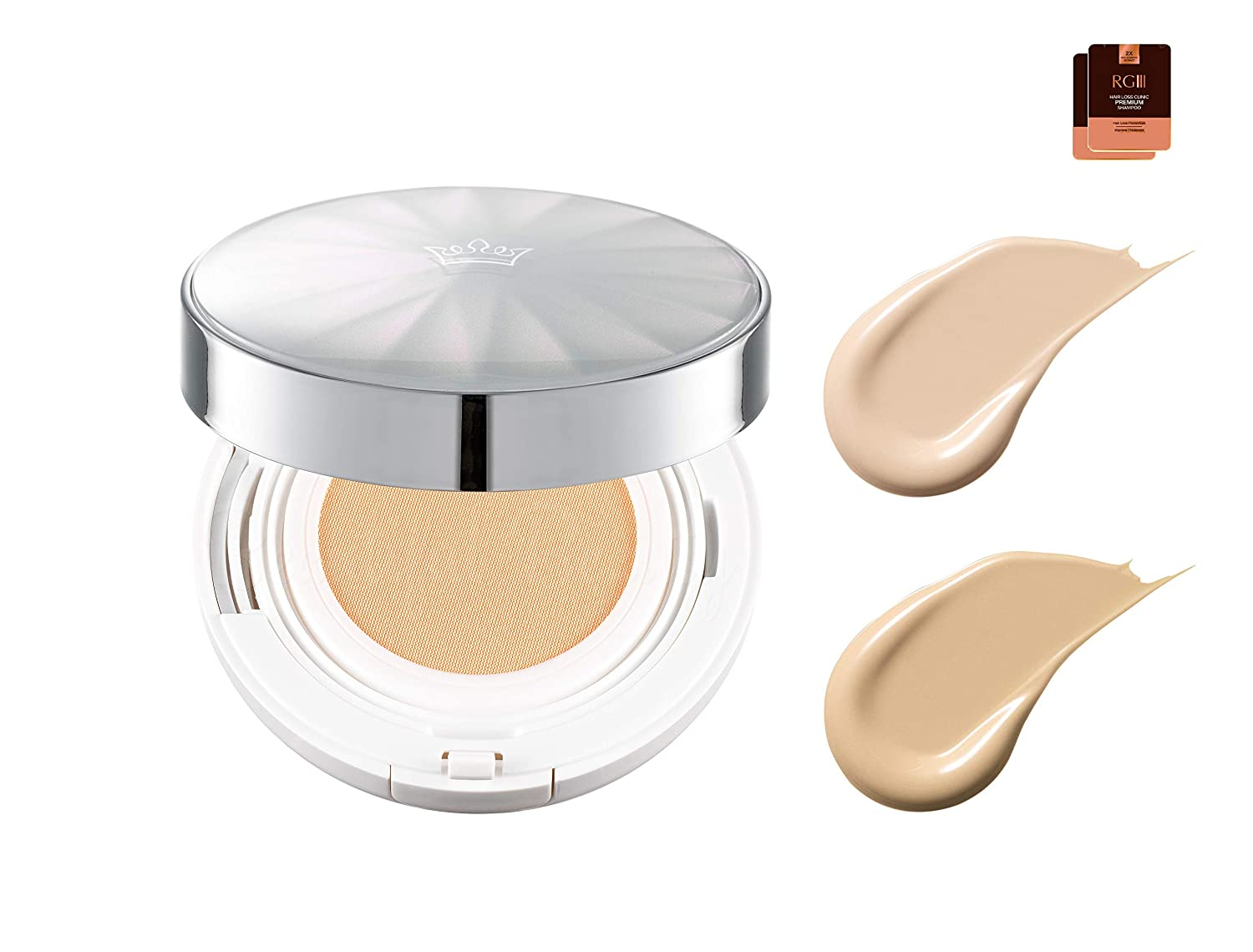 [J.ESTINA] Lucent Light Cushion foundation SPF 50+/PA+++ Long-lasting, high coverage/hydrating Healing Skincare Makeup for Oily Acne Sensitive Skin radiant and glowing - 0.42 oz (#21 Light Beige)