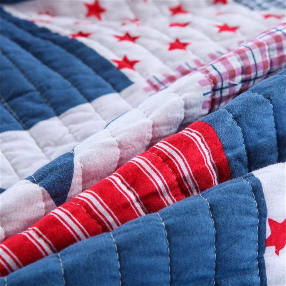 Abreeze Star Kids Patchwork Cotton Quilt Bedspread Children Bedding (Full, Star)
