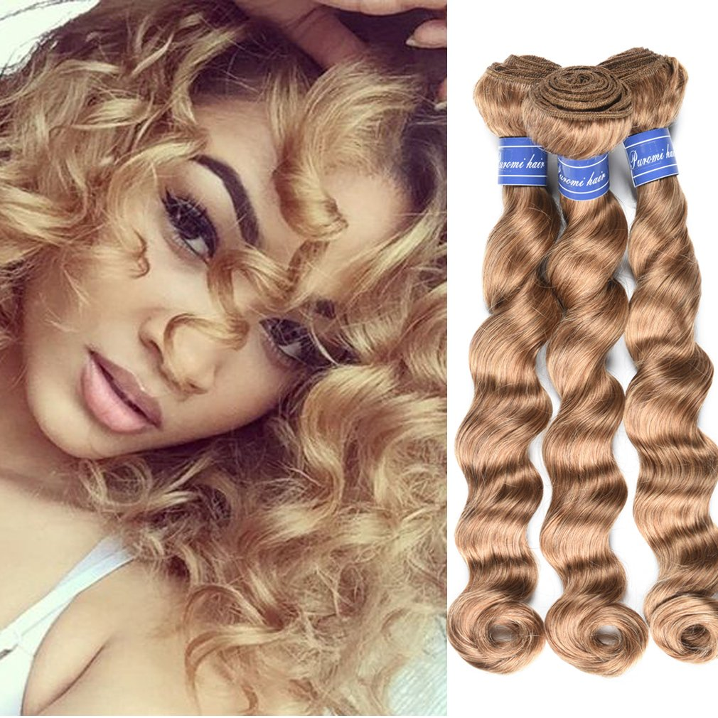 #27 Color Human Hair 3 Bundles Brazilian Loose Curly Hair Honey Blonde Color Wet and Wavy Brazilian Loose Deep Wave Hair (18 20 22 inch, 27) 71JNhiX0T%2BL