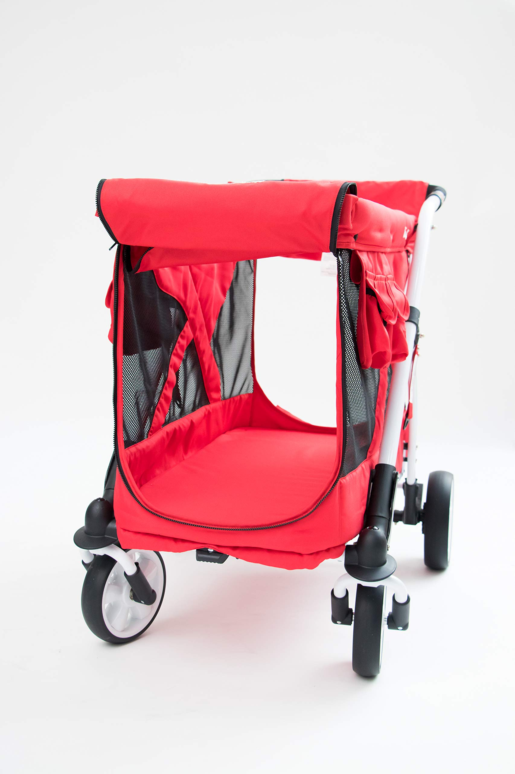 Familidoo Multi-Purpose 6 in 1 Large Twin Size Toddler Baby Folding Stroller Chariot Wagon, Red by FAMILIDOO (Image #6)