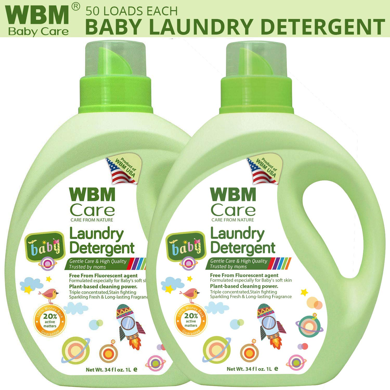 WBM LLC Infant Pack of 2 High Quality Liquid, Natural, Newborn, 34 Ounce | 50 Loads Each, 34 oz, Active Baby Laundry Detergent by WBM LLC
