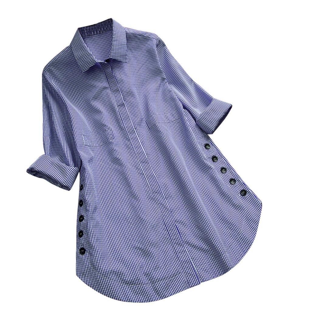 vermers Clearance Women's Long Sleeve Plus Size Blouse - Women Fashion Lattice Button T Shirt Loose Casual Tops(4XL, Blue)