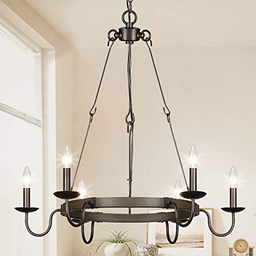 Lampundit 6 Light Rustic Farmhouse Chandelier