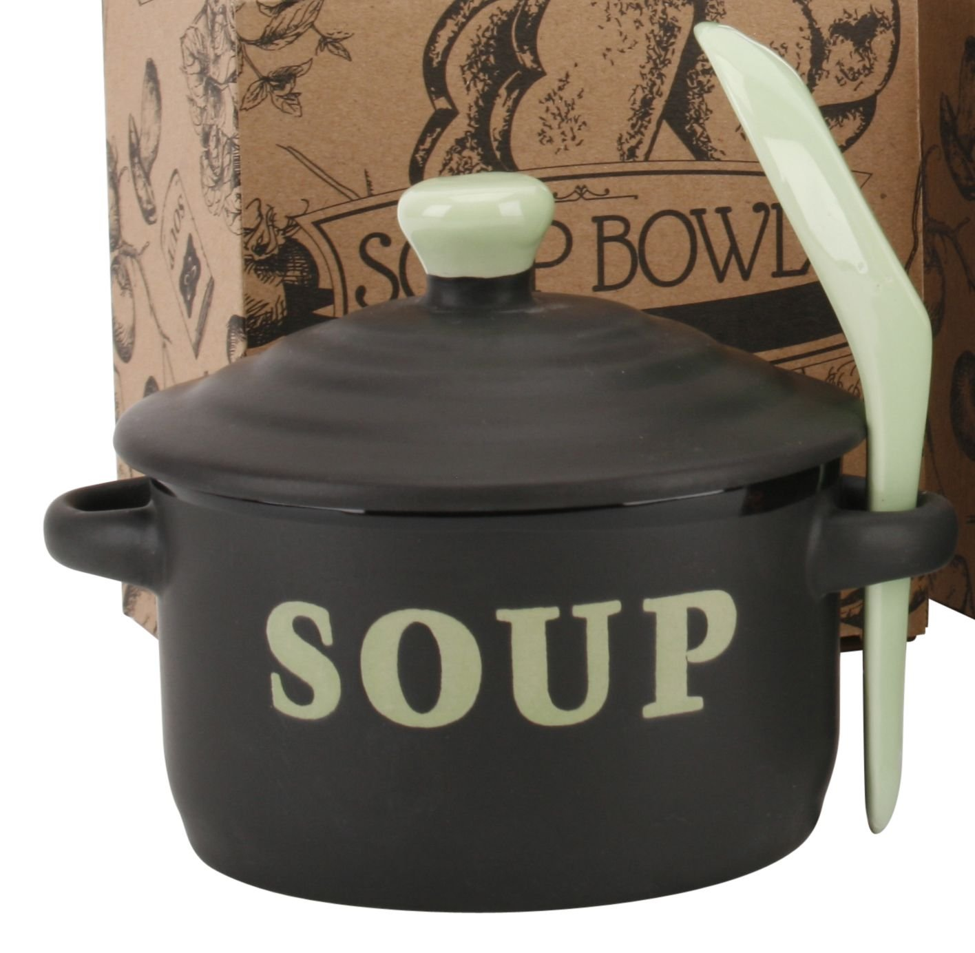 Contemporary Housewares Stoneware Soup Bowl With Lid And Sipping Spoon ~ Green