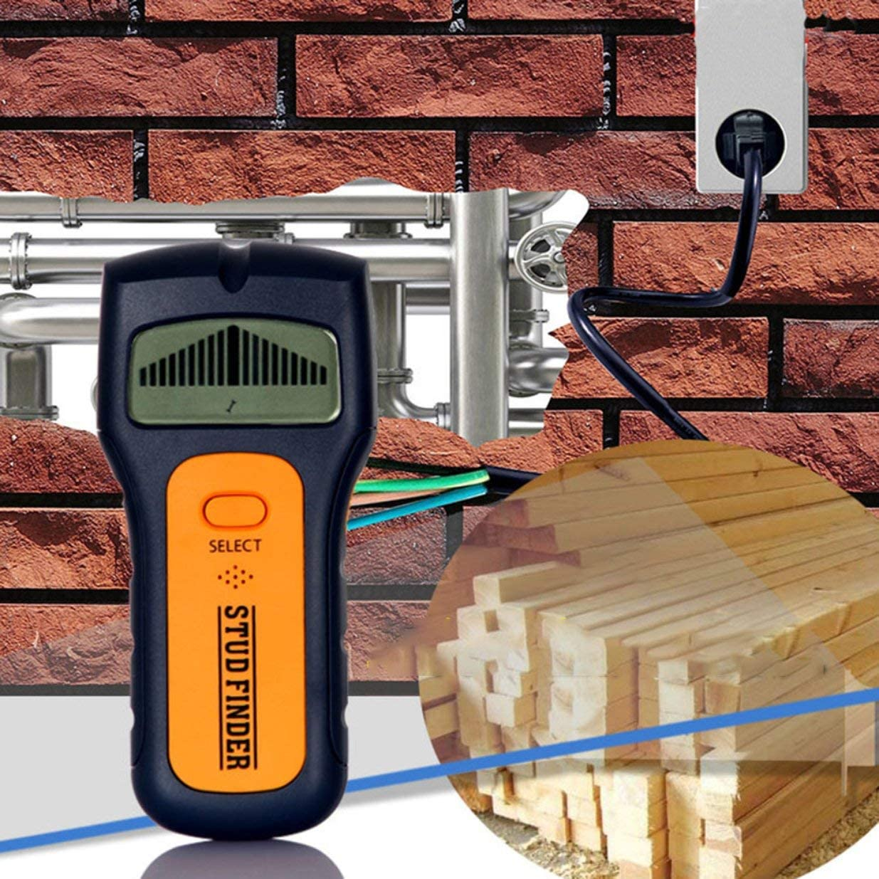 Sairis Portable Size 3 en 1 Multifuncional Stud Center Finder AC Live Wire Detector Esc/áner de Madera de Pared Multi Herramientas de Metal