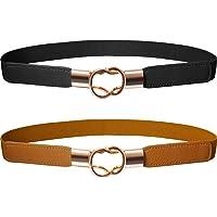 Cinturón Flaco de Mujeres Banda Elástica de Cintura Retro Correa Elástico  de Broche de Metal para d18991d33e2c