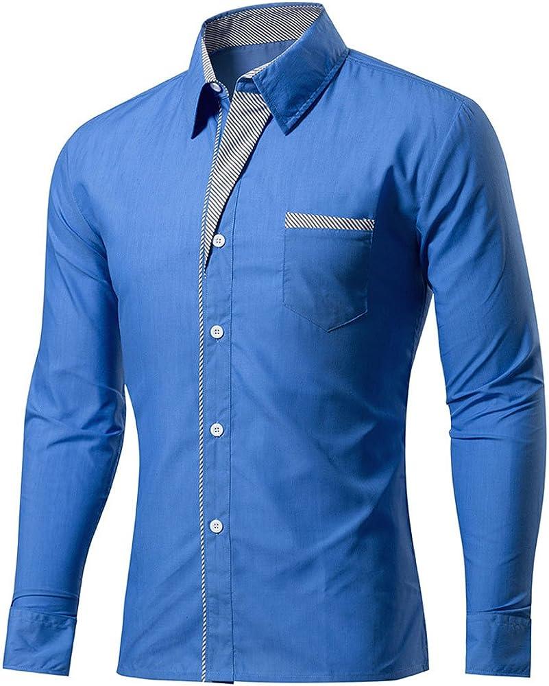 LANMWORN Hombres 11 Colores Puros Manga Larga Gracioso Casual Blusa Comprobar Empalme Traje Camisas, Moda BotóN Abajo Negocio Formal Vestir Shirt: Amazon.es: Ropa y accesorios