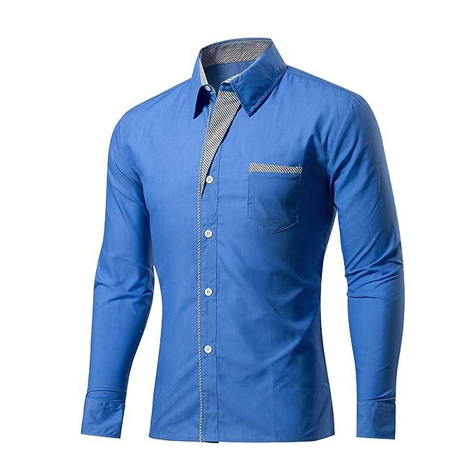 LANMWORN Hombres 11 Colores Puros Manga Larga Gracioso Casual Blusa Comprobar Empalme Traje Camisas, Moda