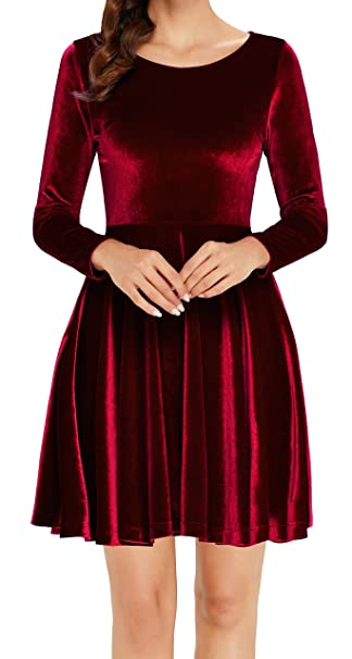 6afff4ff48 Annigo Womens Velvet Casual Short Long Sleeve Peter Pan Collar Flare Skater  Short Dress at Amazon Women s Clothing store