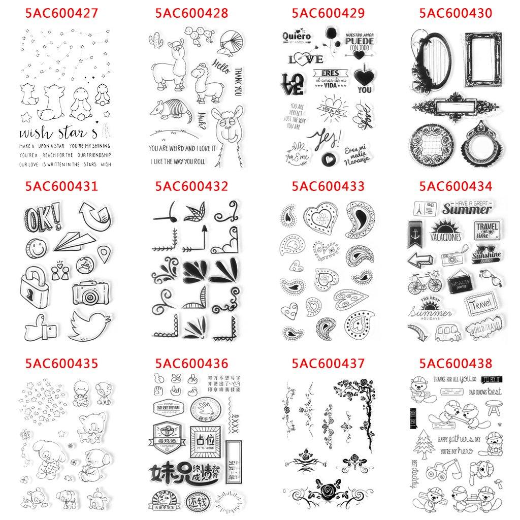 Qiman Viaje Tema D/écor Borrar Silicona Sello Estampa Tuercas para Diario /álbum Scrapbook S62