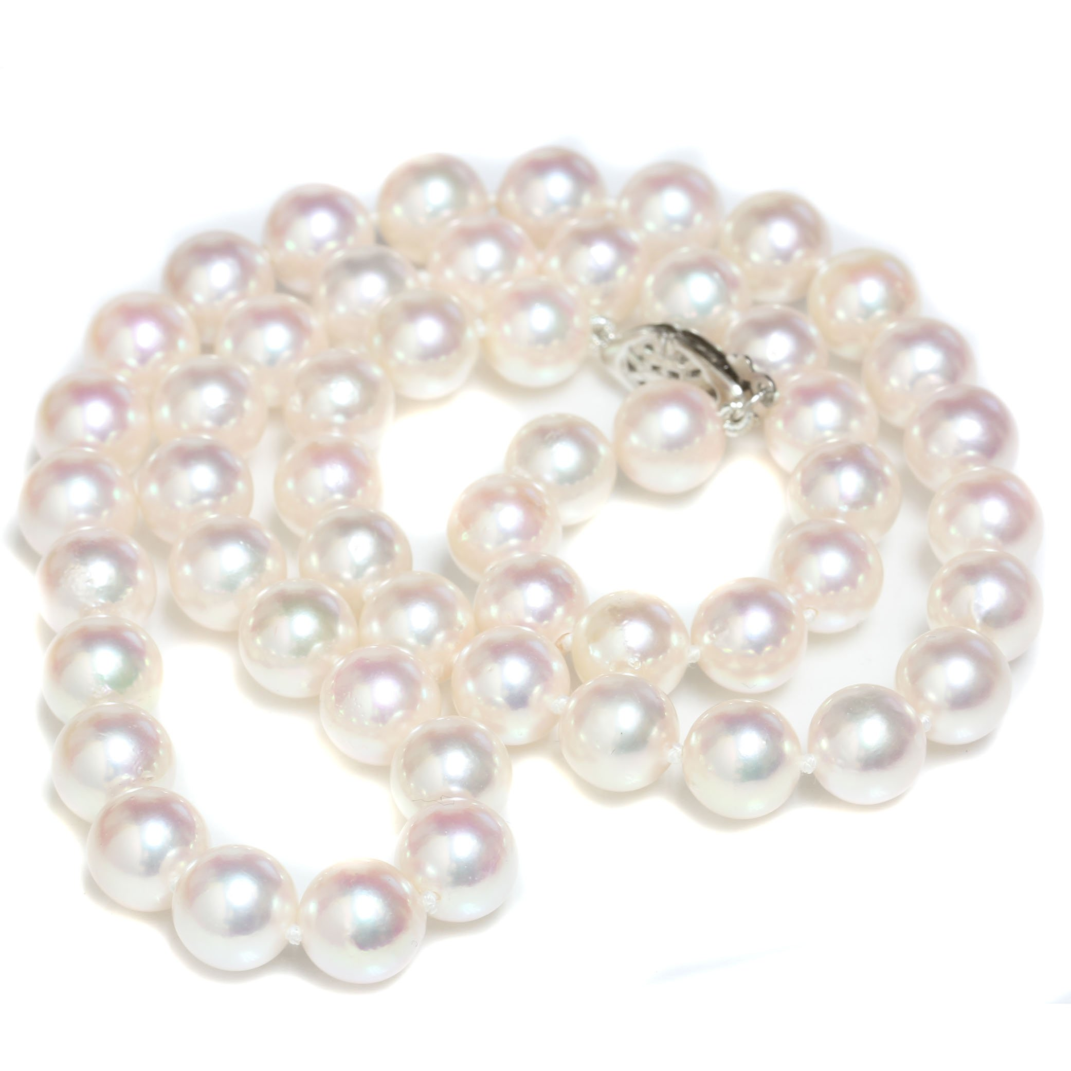 Cultured Akoya Pearl Necklace 8 - 7.5 MM AAA Quality 14k Solid White Gold Clasp 18''