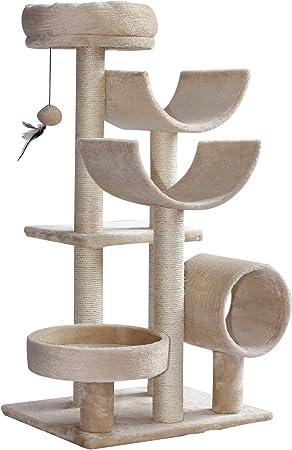 Pawhut Rascador para Gatos Árbol Rascador Grande Plataformas Tubo de Juego Bola de Juego 50x40x105cm: Amazon.es: Hogar