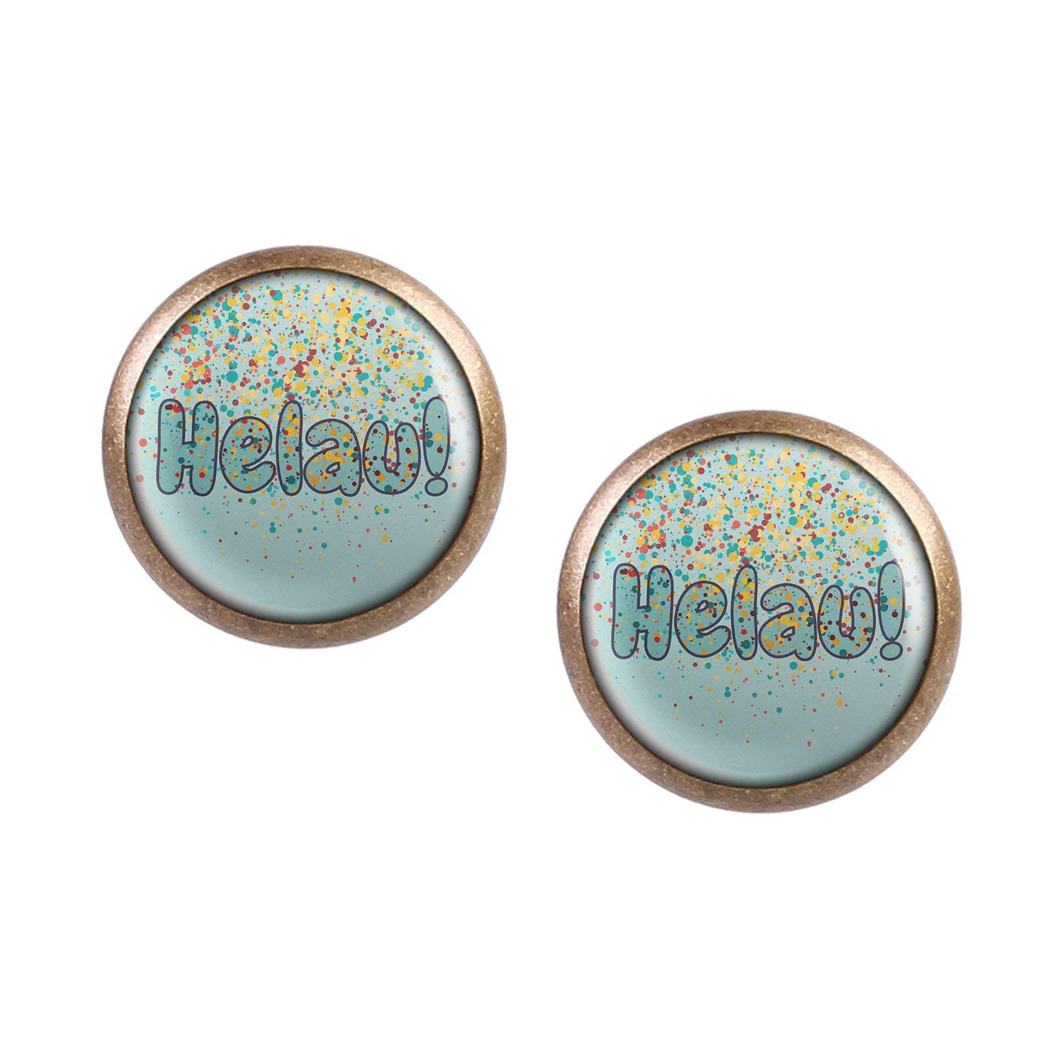 Stud Earring Pair with Cabochon Picture Helau Carnival Green Yellow confetti bronze different sizes