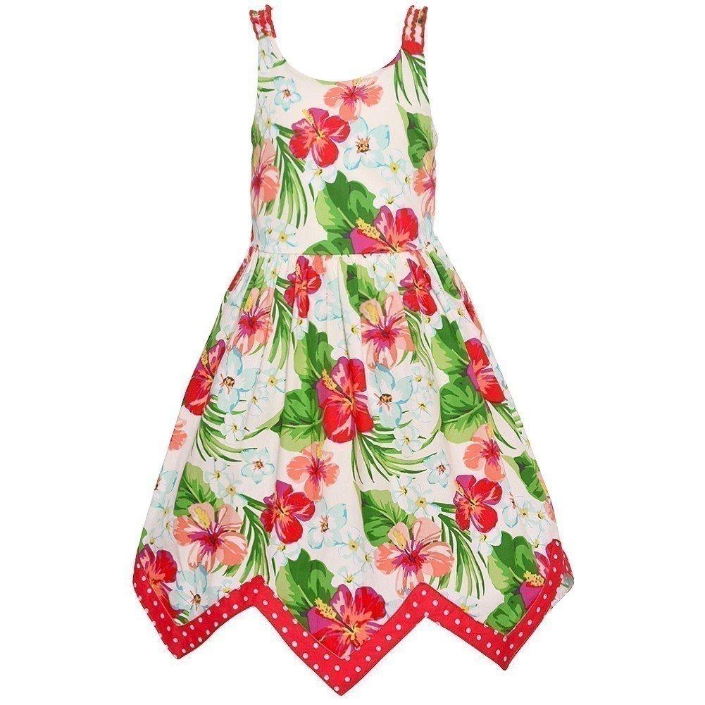 7a037cefec0a Amazon.com  Bonnie Jean Little Girls Coral Green Floral Print Angled Hem  Dress 2T-6X  Clothing