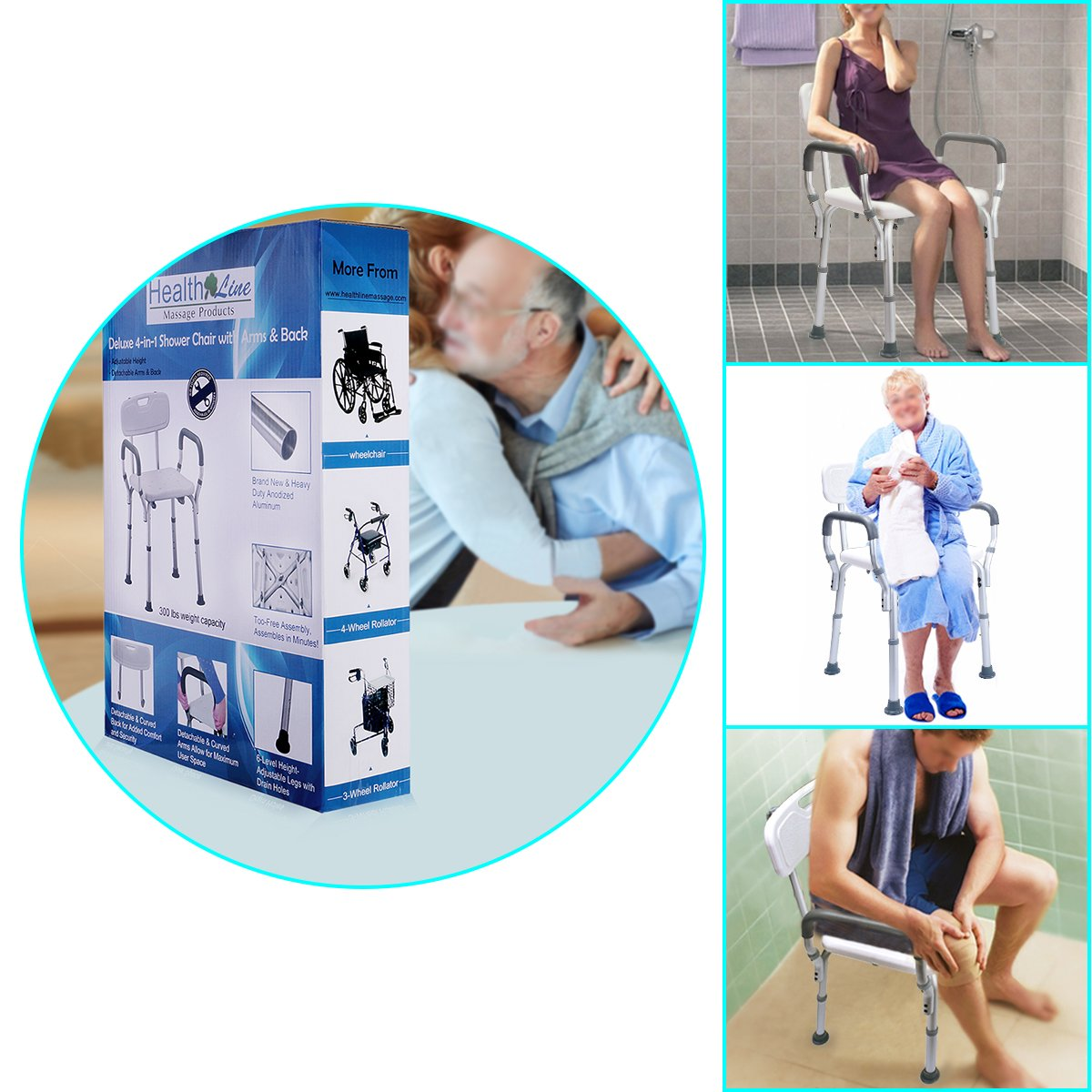 Health Line Tool-Free Assembly Shower Chair Bath Bench Stool Adjustable Height with Removable Back and Arms & Non-Slip Feet - w/Bonus Loofah Back Scrubber by HEALTH LINE MASSAGE PRODUCTS (Image #8)