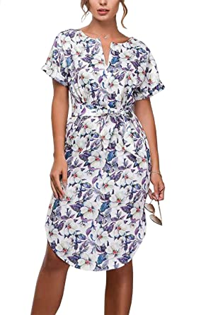 54ee60df9f902 CoCo fashion Women's Casual V-Neck Floral Print Side Split Short Sleeve  Belted Summer Dress