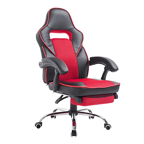 HomCom Race Car Style High Back PU Leather Reclining Office Chair With  Footrest   Red And