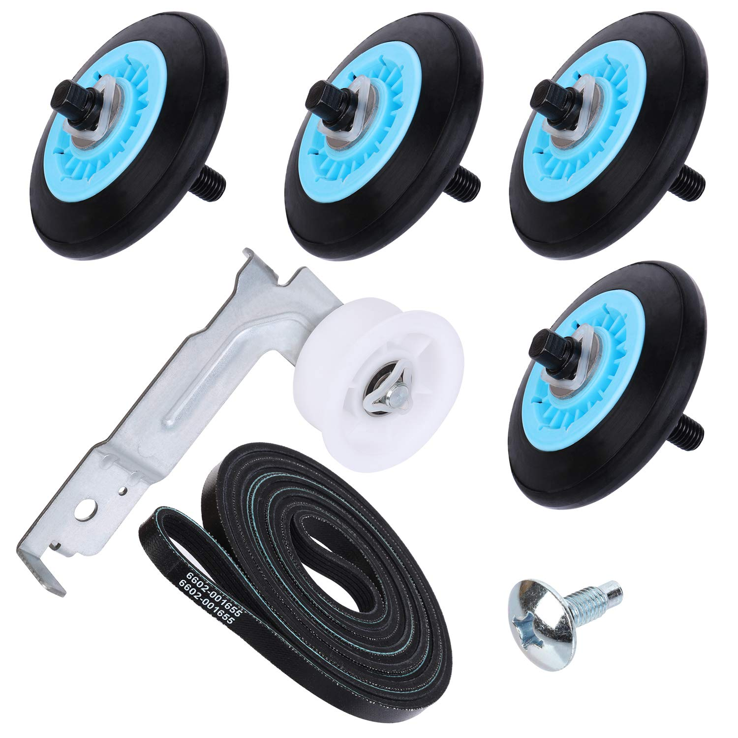 S-Union Replacement Dryer Repair Kit for Samsung - DC97-16782A Dryer Drum Support Roller, 6602-001655 Dryer Drum Belt and DC93-00634A Dryer Idler Pulley Replace AP5325135 AP4373659 AP6038887 PS4221885