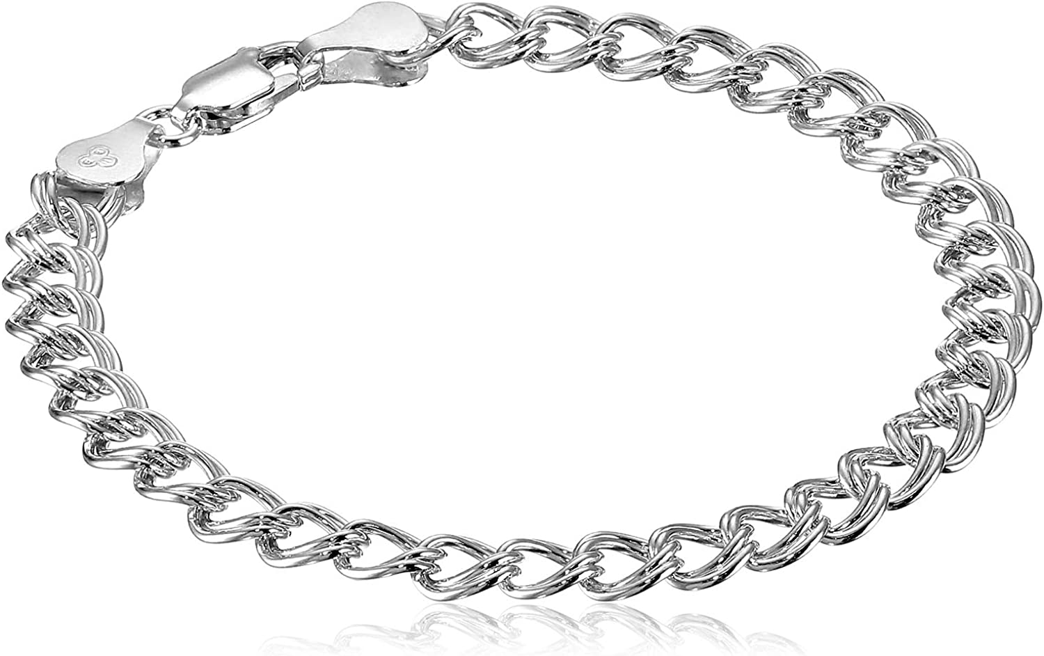 Amazon Essentials Plated Sterling Silver Double-Link Chain Bracelet