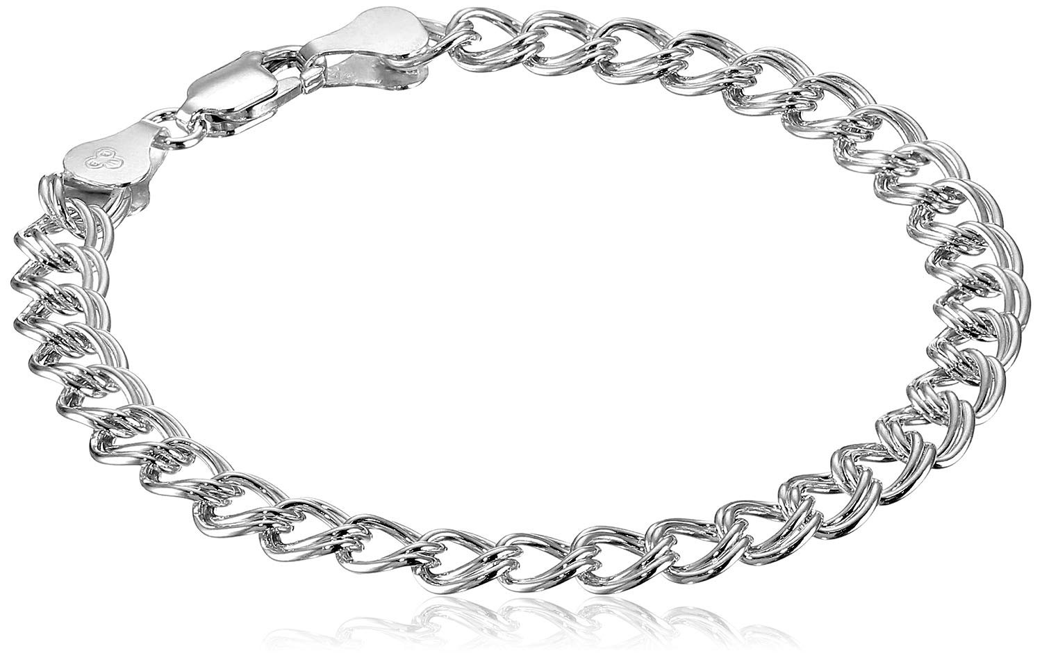 Amazon Essentials Sterling Silver Double-Link Chain Bracelet, 7''