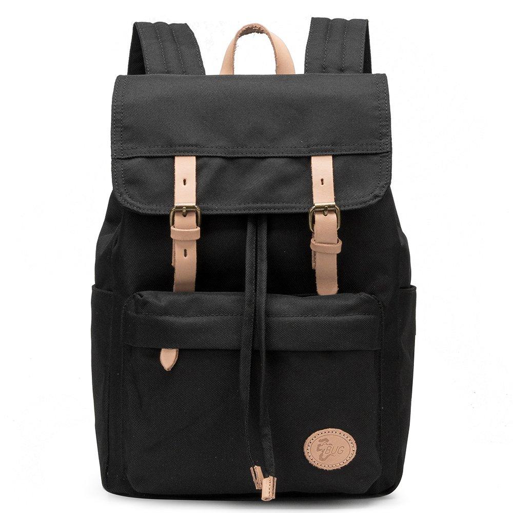 BUG Vintage Waterproof Canvas Fabric Cotton Leather Backpack Bookbag New Laptop (Black)