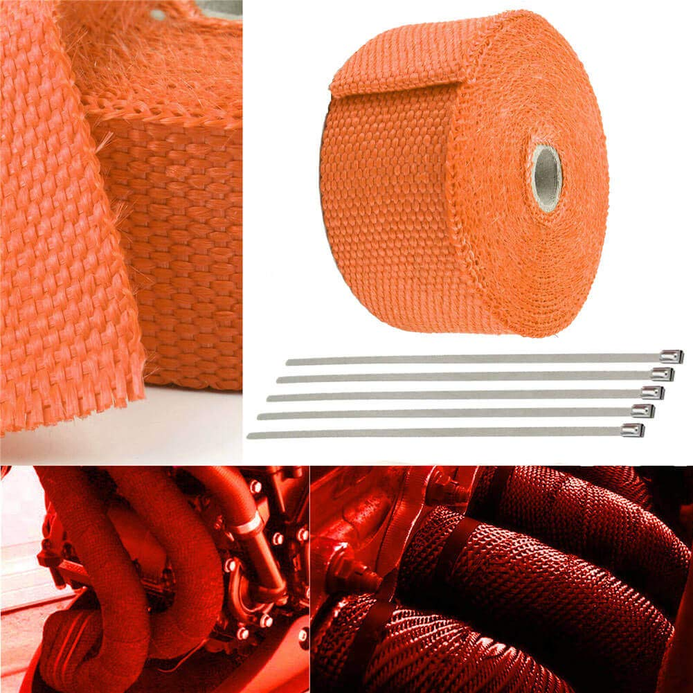 10M Length: 32.8ft 2 Thermal Roll Fiberglass Exhaust Header Pipe Heat Wrap Tape +10 Ties Kit ,Blue