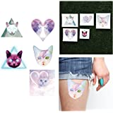 Tattify Cat Temporary Tattoos - Catastrophic (Complete Set of 10 Tattoos - 2 of each Style) - Individual Styles Available and Fashionable Temporary Tattoos