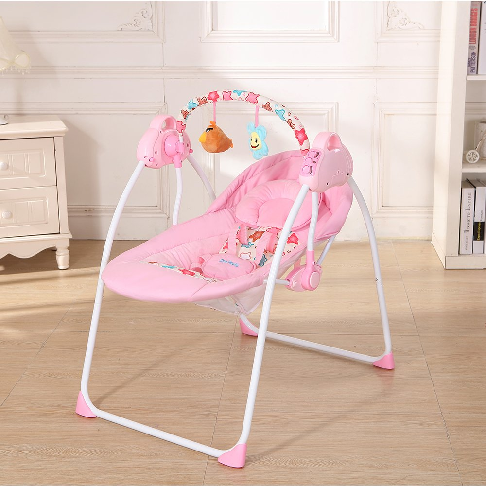 Decdeal Electric Baby Cradle Swing with Connect Mobile Music Play Function Chair for Baby Girl