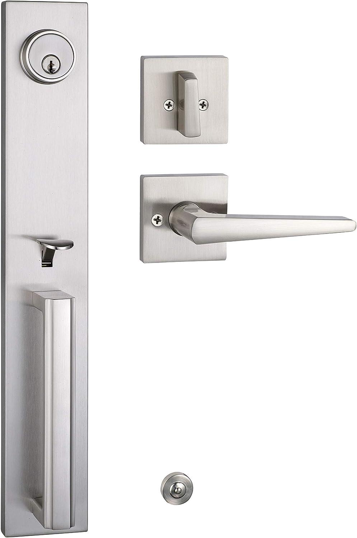 Front Door Keyed Entry Handleset Reversible for Right and Left Handed,with Single Cylinder Deadolt Brushed Nickel Finish (KEYED HANDLESET, Brushed Nickel) MDHST2016SN-AMZ-1