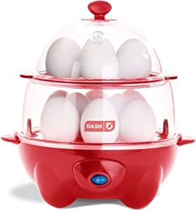 Dash DEC012RD Deluxe Rapid Cooker Electric for Hard Boiled, Poached, Scrambled Eggs, Omelets, Steamed Vegetables, Seafood, Dumplings & More, 12 capacity, with Auto Shut Off Feature Red (Renewed)