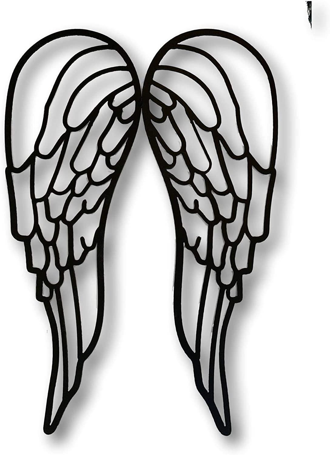 21 inch Beautiful Artisan Metal Angel Wings Home Wall Decor Large (Solid Black)