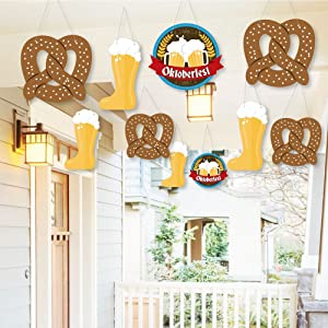 Hanging Oktoberfest - Outdoor German Beer Festival Hanging Porch & Tree Yard Decorations - 10 Pieces
