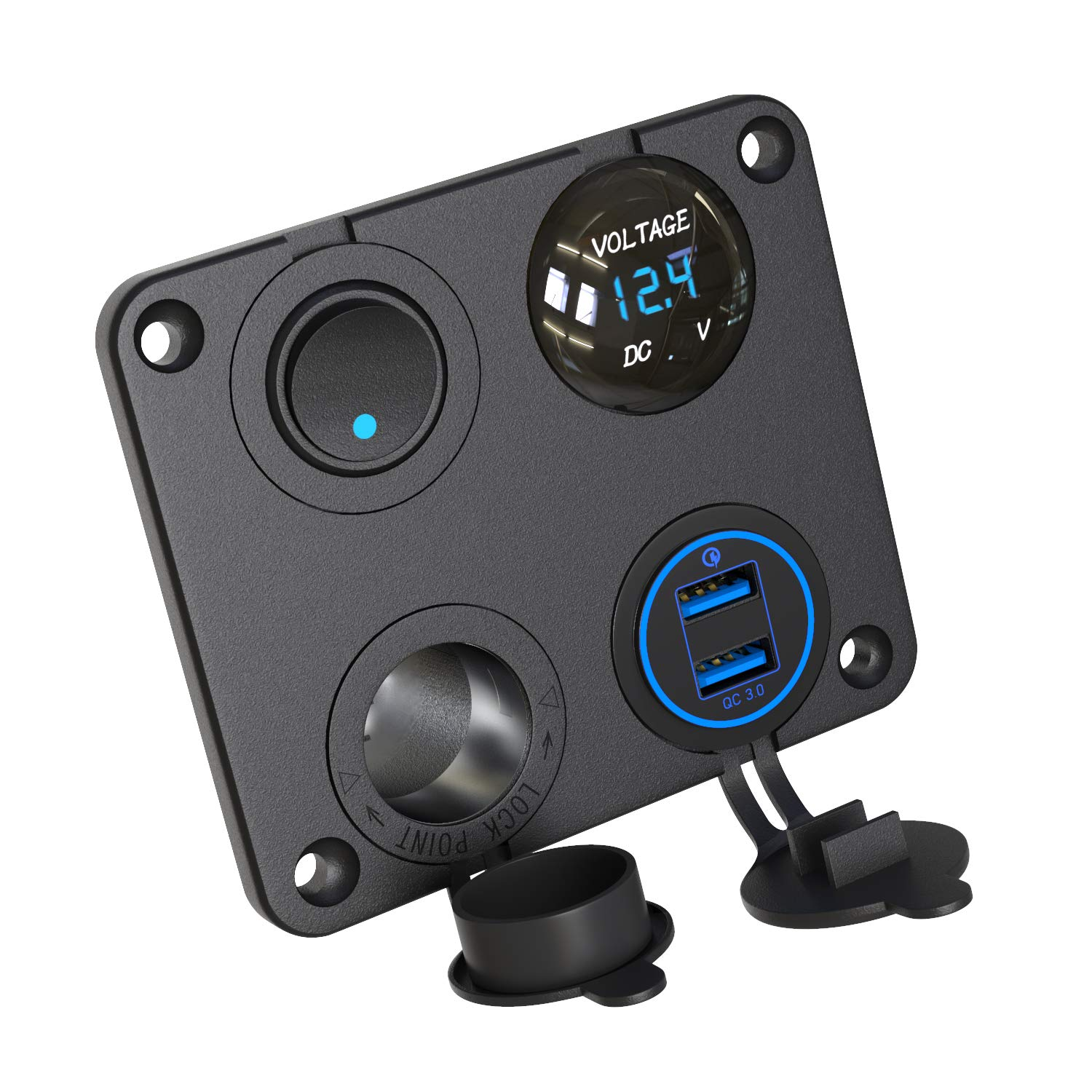 QC 3.0 Dual USB Charger Socket Panel 12V Power Outlet with LED Voltmeter Switch Waterproof Cigarette Lighter Socket Quick Charge 3.0 for Rocker Switch Panel on Car Marine Boat UTV ATV RV by Qidoe