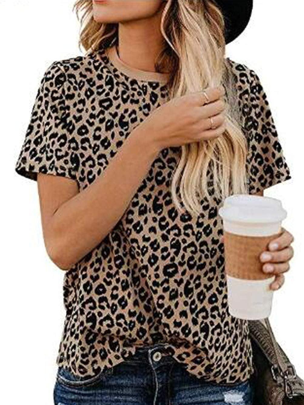 iChunhua Ladies Summer V Neck Leopard Print Top