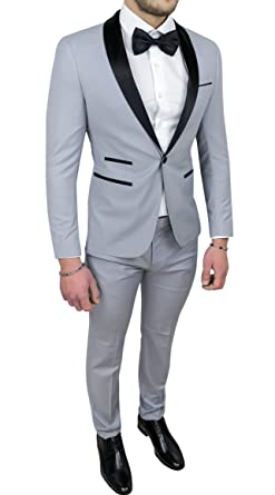 Abito completo uomo sartoriale grigio raso vestito smoking elegante  cerimonia (44) a24b52a3edf