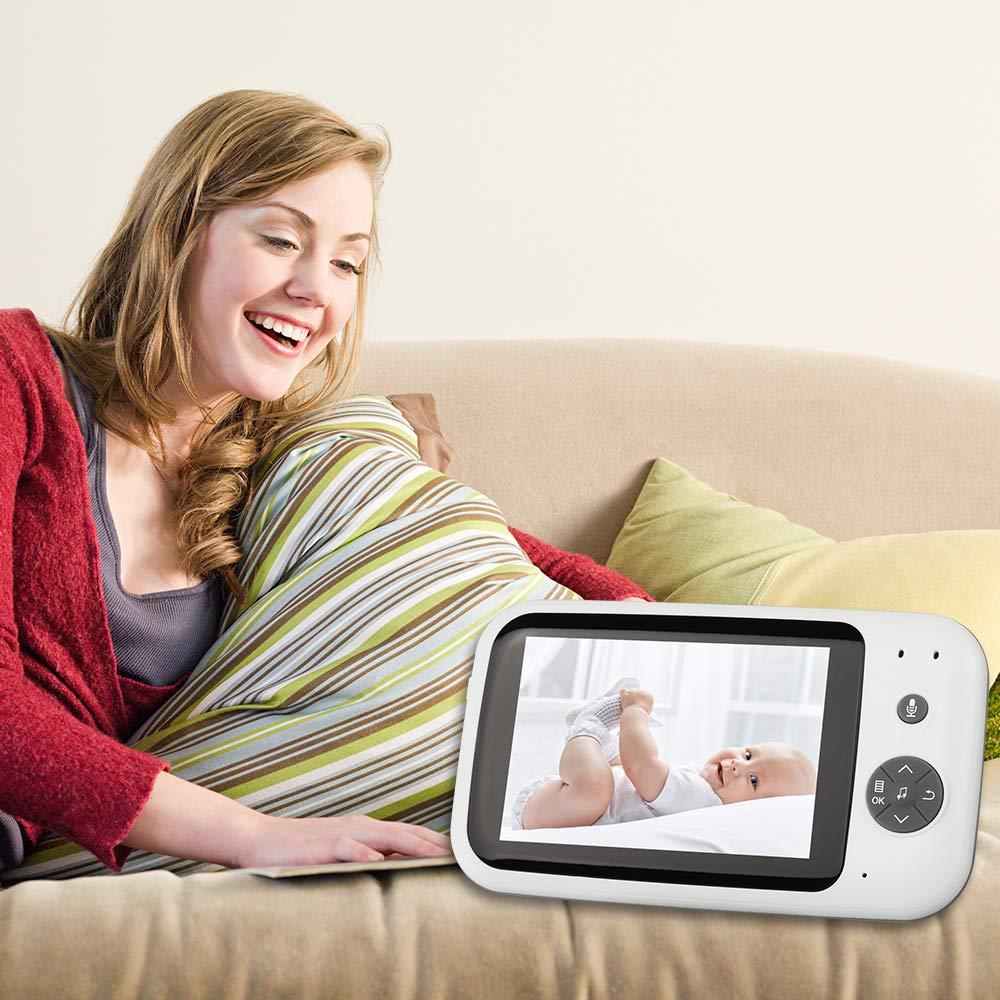 Babyphone Cam/éra Num/érique Sans Fil avec Surveillance de la Temp/érature Ecran LCD 3.5 Pouces Ecoute B/éb/é avec Vision Nocturne Communication Bidirectionnelle Moniteur B/éb/é
