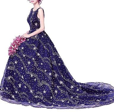 Blue Floor Length Wedding Dress Five Stars Decoration Deep V Style