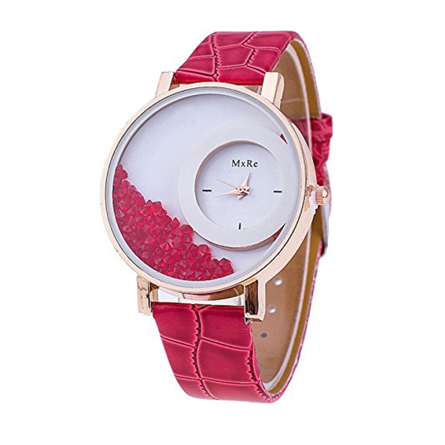 Buy Rustet Analogue Diamond Round Dial Wrist Women S Girl S Watch Red Online At Low Prices In India Amazon In