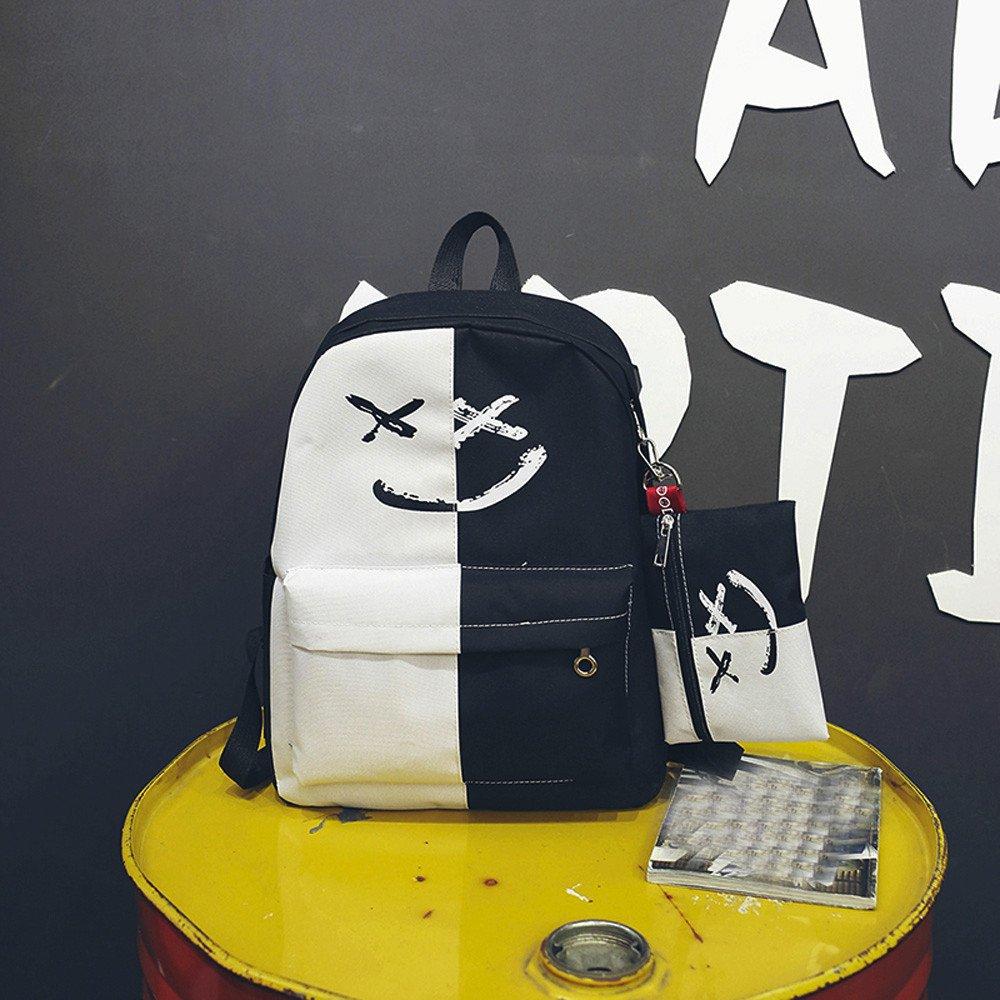 6d653acb0f JERFER Zaino Donna2Pcs Ragazze Sorriso Spalla Borse Scuola Viaggi zaino + piccola  borsa: Amazon.it: Abbigliamento