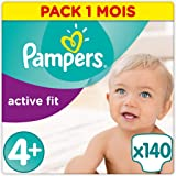 Pampers - Active Fit - Couches Taille 4+ (9-18 kg) - Pack 1 mois (x140 couches)