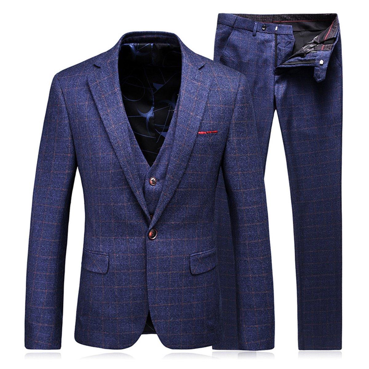 WEEN CHARM メンズスーツ セットアップ 3ピース スリム ビジネス 結婚式 チェック柄 紺色 B0746HDBSX L|ブルー01 ブルー01 L