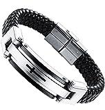 Amazon Price History for:Ostan Mens Bracelet Men's Stainless Steel Bracelet Braided Religious Cross Cuff Bangle Rope Black