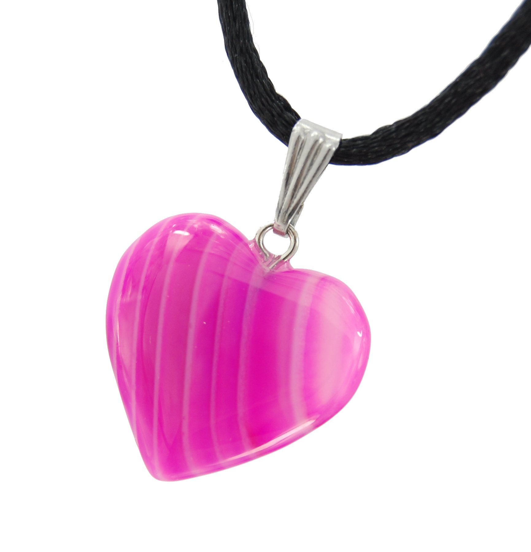 Steampunkers USA Big Heart Collection - 20mm Classic Pink Agate Neon, 20'' Adjustable Soft Black Poly Woven Washable Cord Stainless Bail - Natural Dyed Crystal Gemstone Carved Necklace Charm