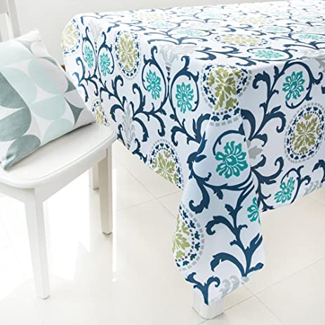 ColorBird Country Style Washable Tablecloth Flower Garden Print Pattern  Polyester Table Cover For Dining Kitchen Living
