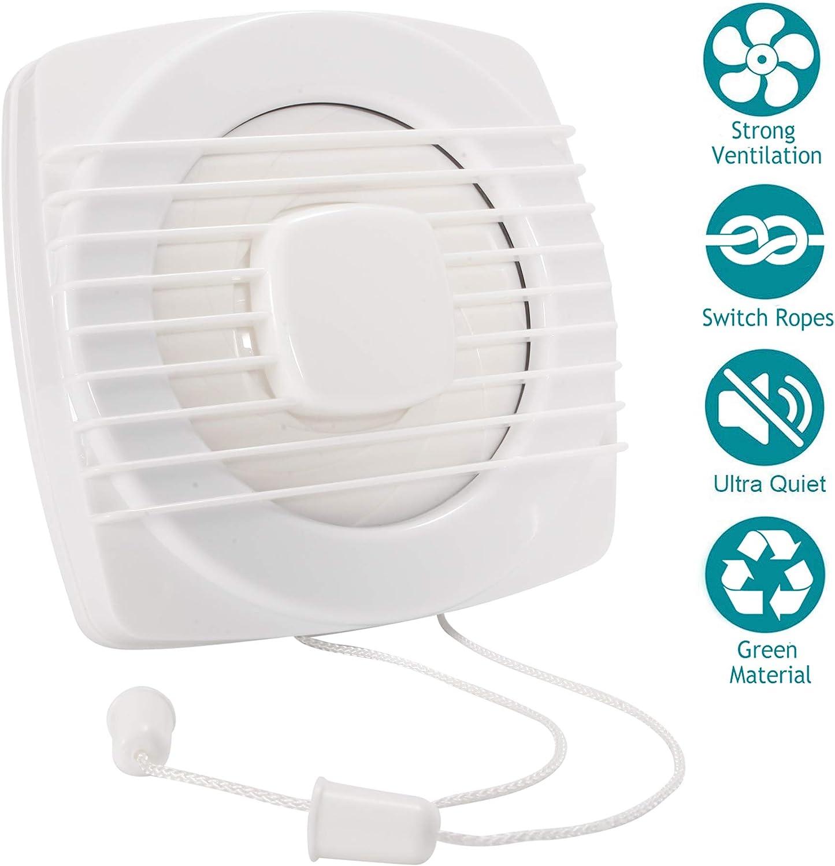 HG POWER - Ventilador para baño (100 mm, con interruptor de empuje, ventilador en línea frontal, silencioso, para baño y cocina)