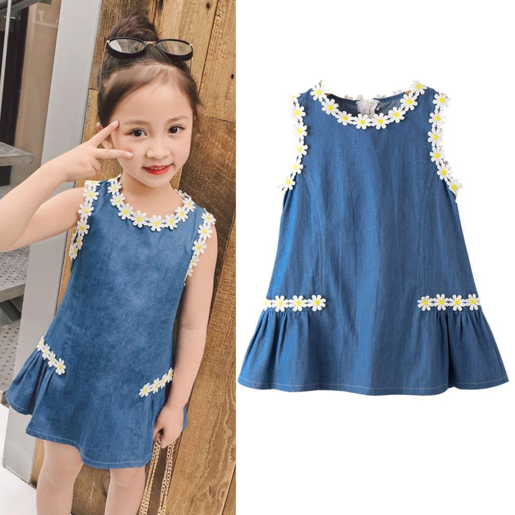 Lavany Kids Girls Dresses Toddler Baby Girl Flower Denim Party Princess Dress Clothes