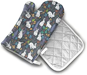 Bunnies Among Leaves Branches Flowers Oven Mitts and Potholders (2-Piece Sets) - Extra Long Professional Heat Resistant Pot Holder & Baking Gloves - Food Safe