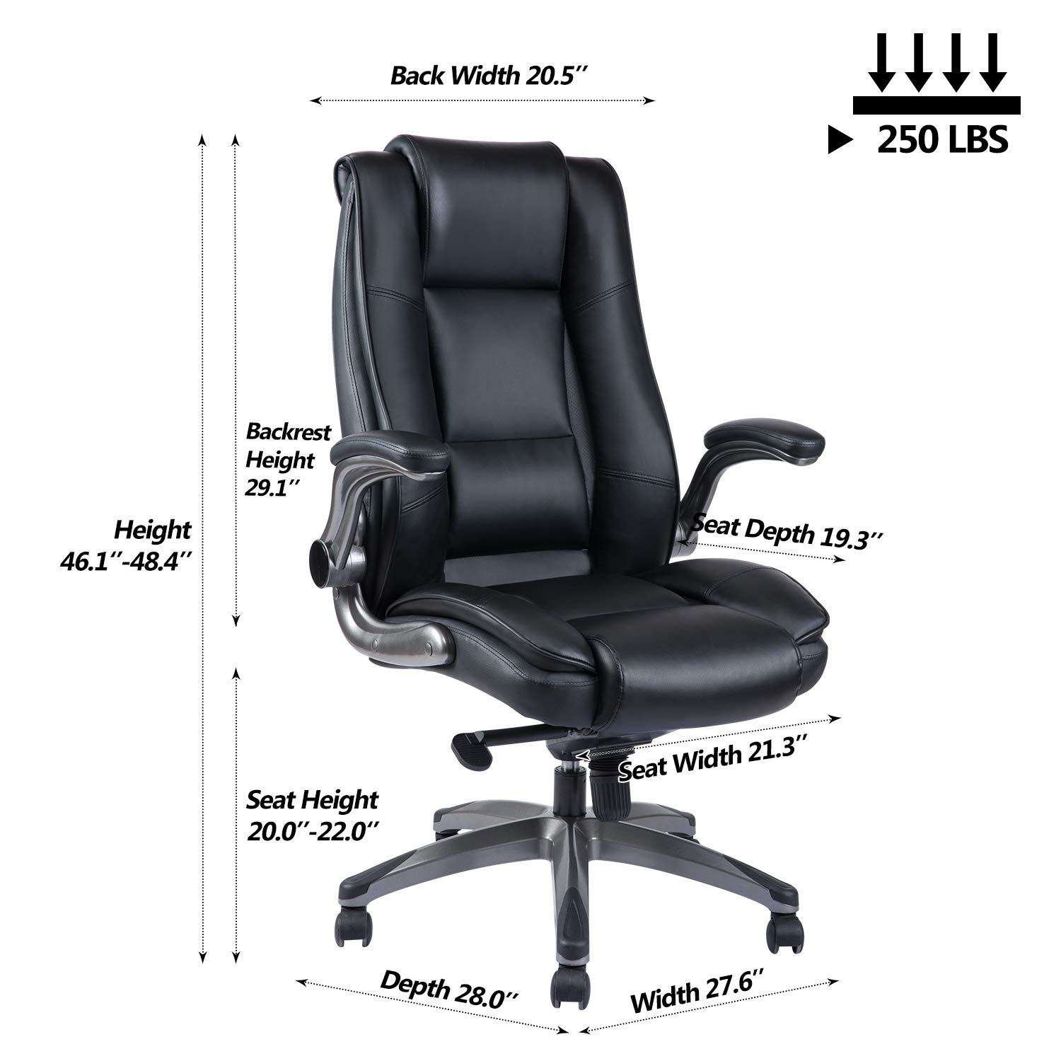 VANBOW High Back Leather Office Chair - Adjustable Tilt Angle and Flip-up Arms Executive Computer Desk Chair, Thick Padding for Comfort and Ergonomic Design for Lumbar Support, Black by VANBOW (Image #6)