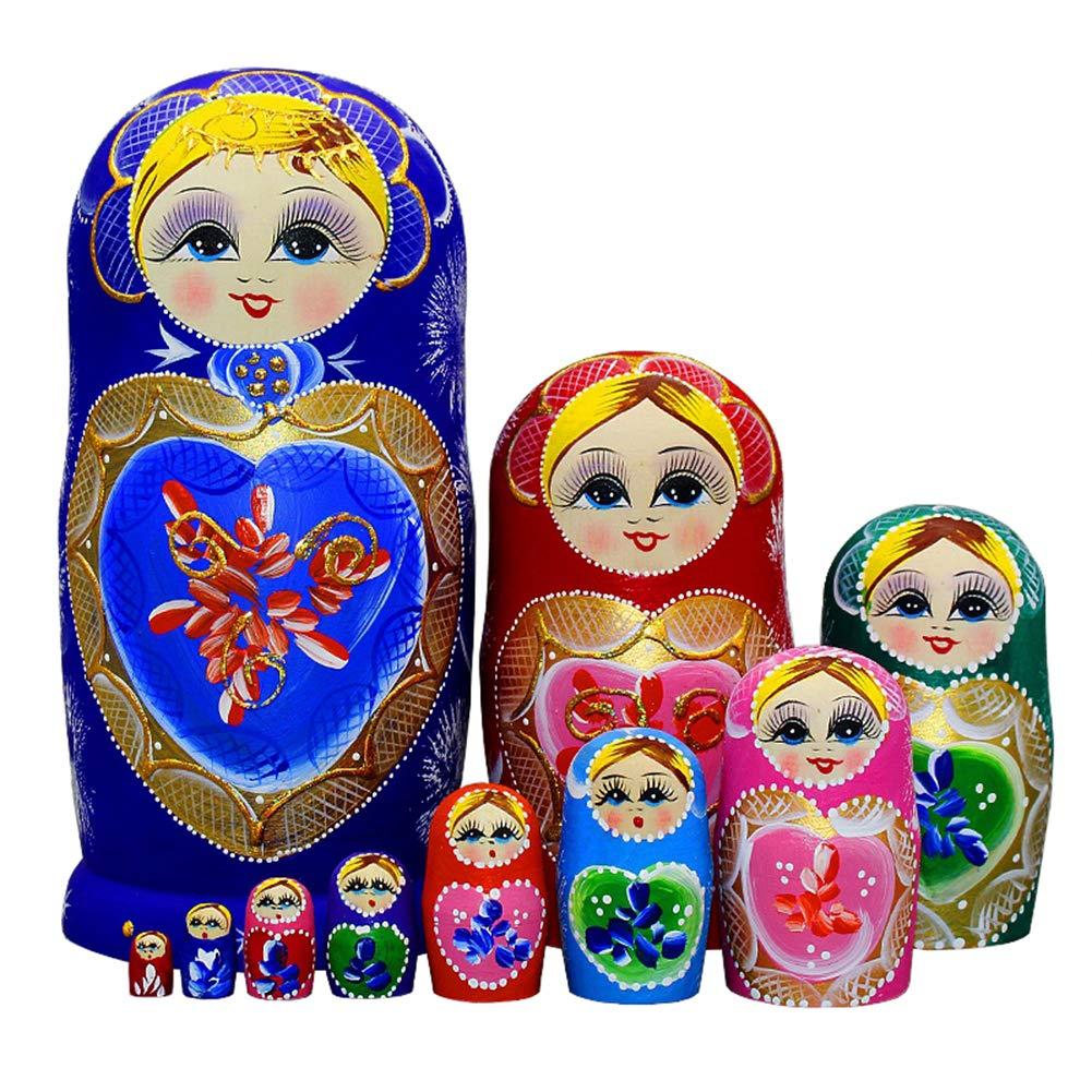 Moonmo 10pcs Blue Loving Heart Shaped Handmade Wooden Russian Nesting Dolls Matryoshka Wooden Toys by Moonmo