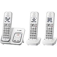 Panasonic Teléfono inalámbrico expansible con bloqueo de llamadas y contestador automático - 3 auriculares - KX-TGD533W (Reacondicionado/Renewed)